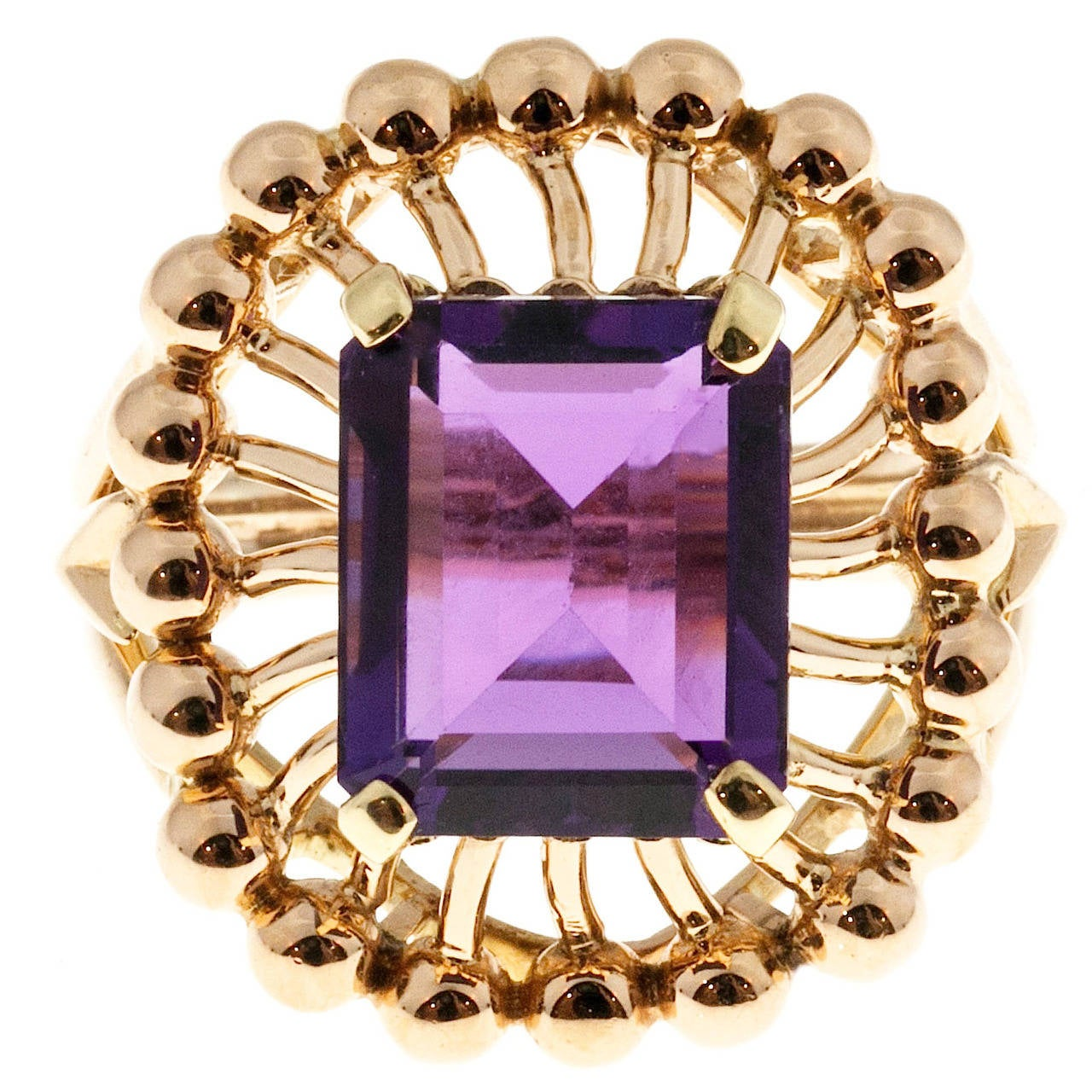 Emerald Cut Amethyst Rose Gold Ring For Sale