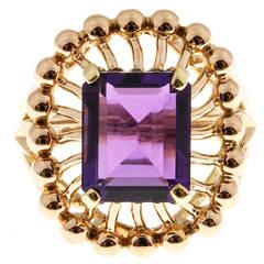 Emerald Cut Amethyst Rose Gold Ring