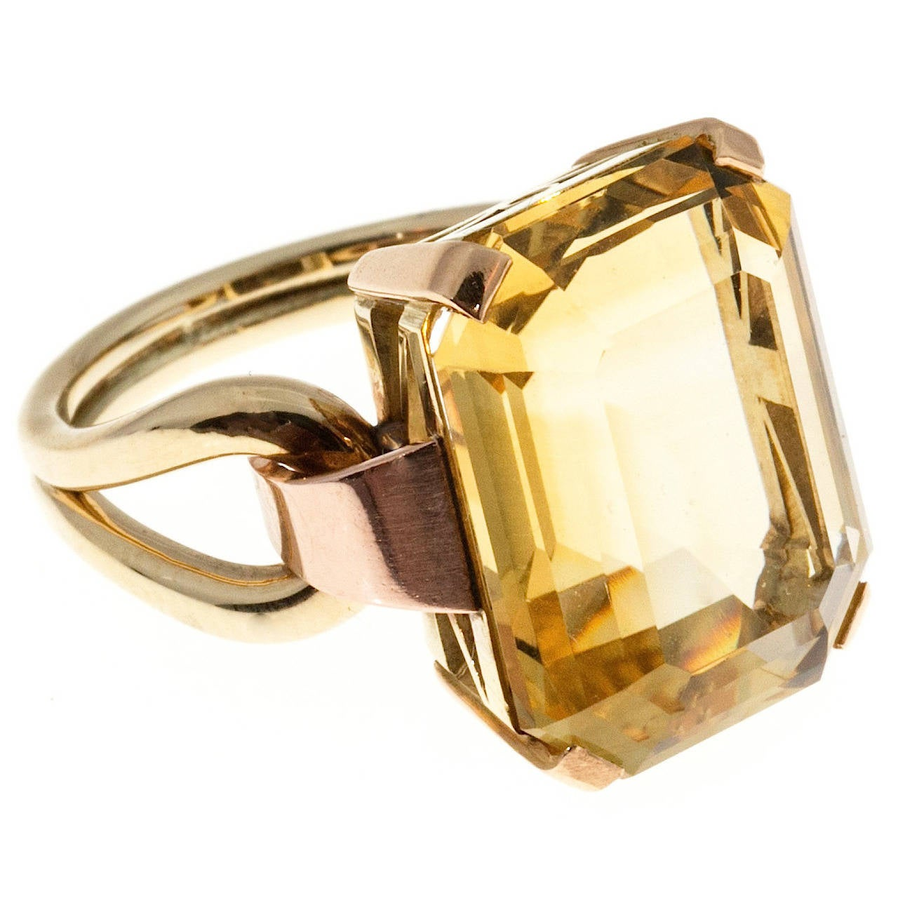 Retro Yellow Citrine Pink Green Gold Ring