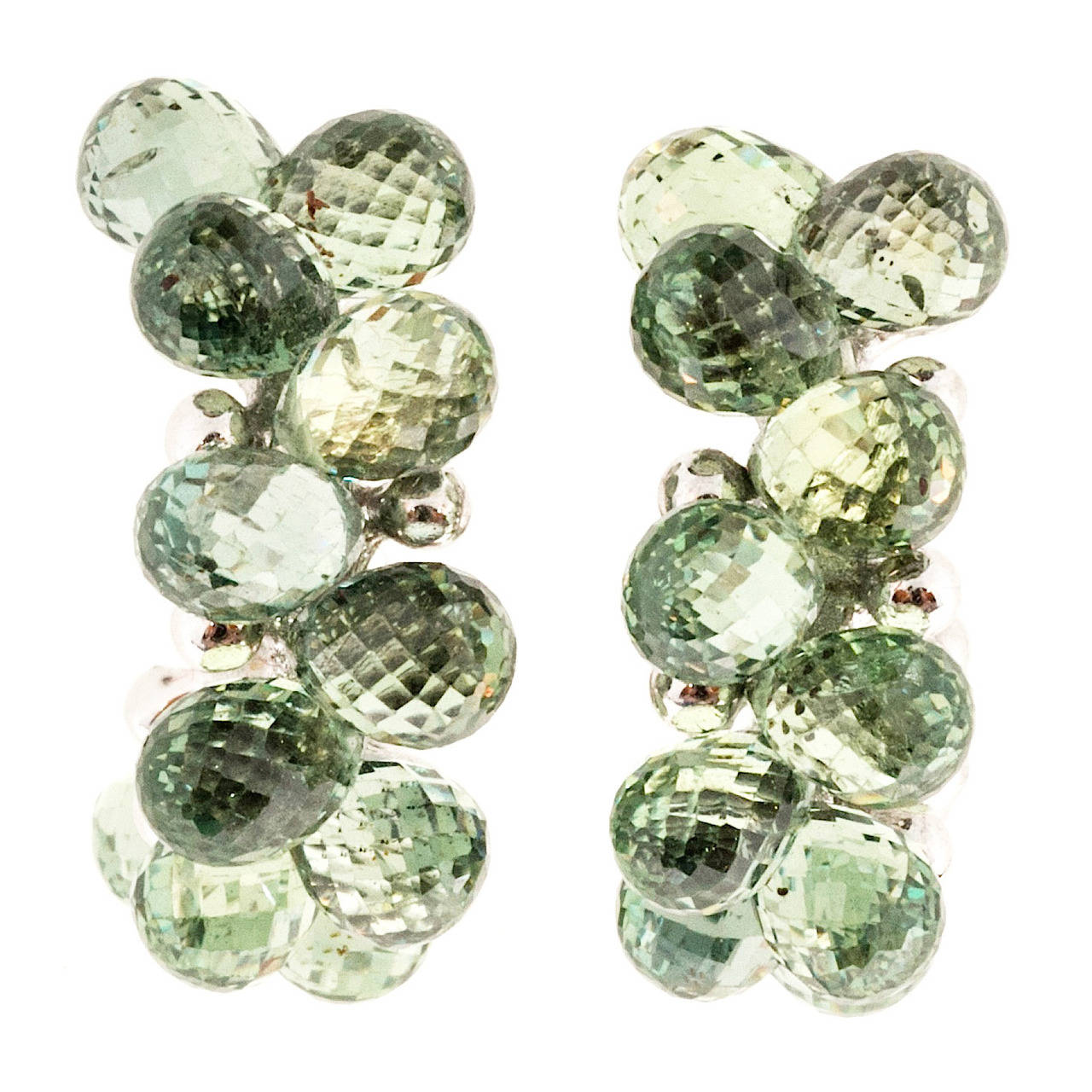 Green Tourmaline Briolette Gold Hoop Post Earrings For Sale