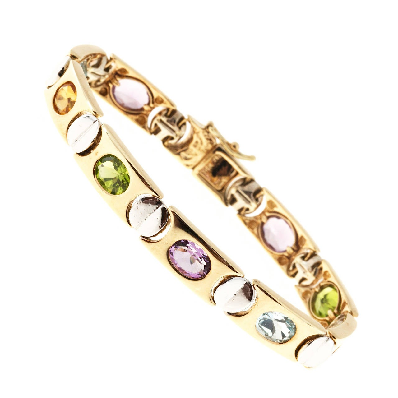 Topaz Amethyst Citrine Peridot Two Color Gold Bracelet