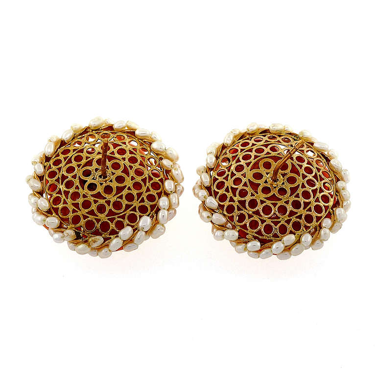 Carved Coral Diamond Pearl Gold Flower Earrings 5