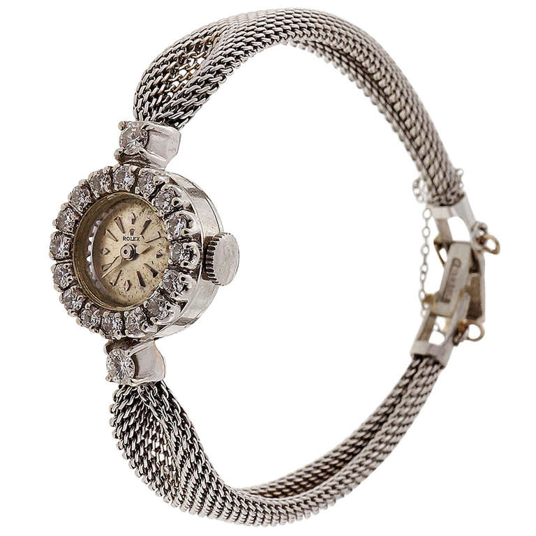Rolex Lady S White Gold And Diamond Bracelet Watch Ref 6252 Circa 1950s For