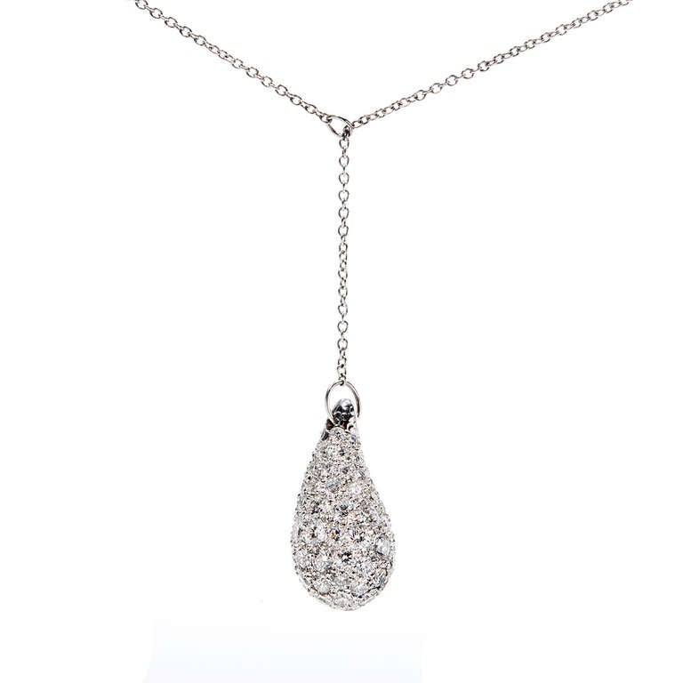 "Tiffany & Co Peretti Large Diamond Paved Teardrop ""Y"" style pendant 2.80ct. Total. F VS diamonds.   Cable chain length 17 inches, Width 1.1mm Approximately 108 ideal full cut diamonds. Approximately 2.80ct. Top to bottom 20.74mm or .81"