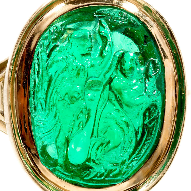Natural Carved Colombian Emerald Gold Cocktail Ring 2