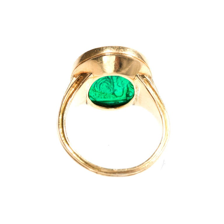 Natural Carved Colombian Emerald Gold Cocktail Ring 5