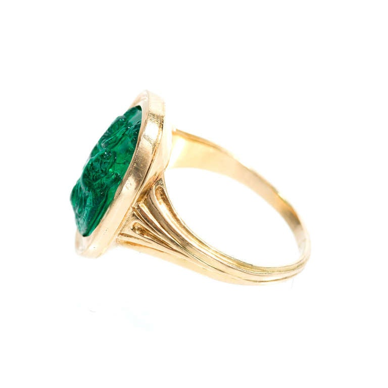 Natural Carved Colombian Emerald Gold Cocktail Ring 6