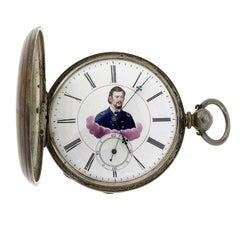 Civil War MJ Tobias Silver Pocket Watch Picturing Major General
