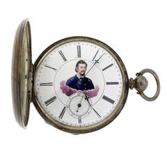 Civil War MJ Tobias Silver Pocket Watch Picturing Major General
