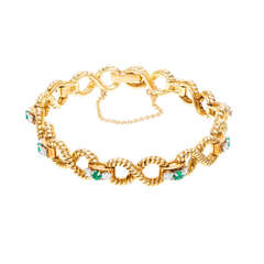 Emerald Diamond Gold Infinity Link Bracelet