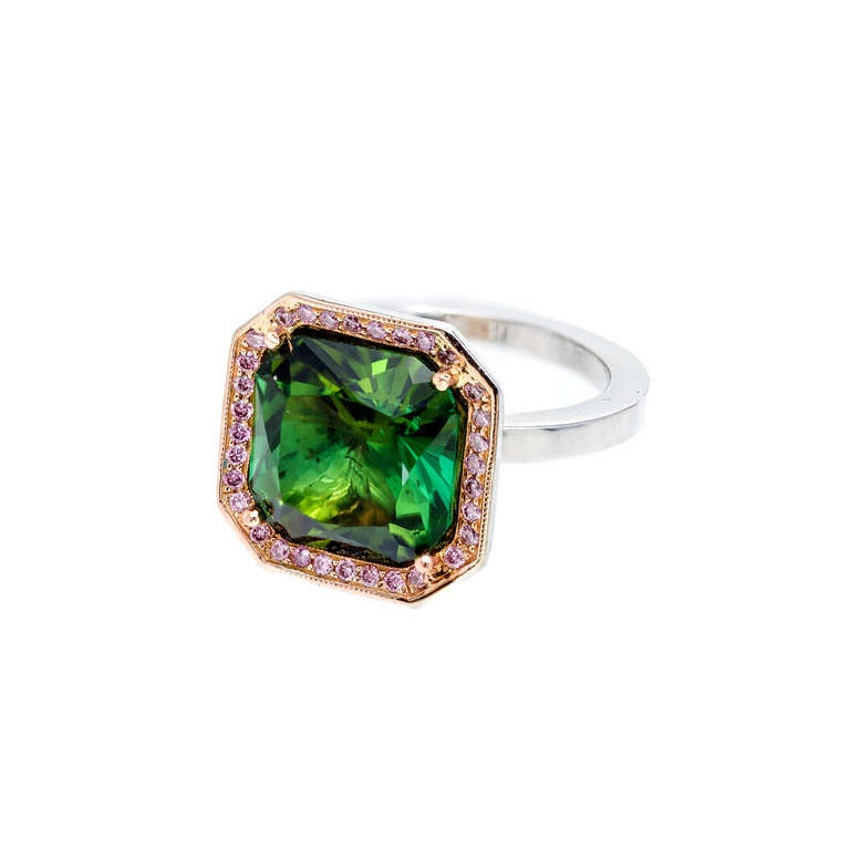 Natural 5.86 Carat Green Tourmaline Diamond Halo Platinum Gold Ring