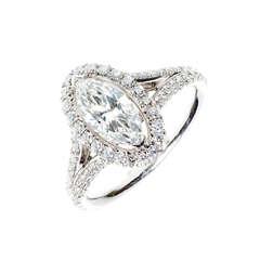 Peter Suchy .99 Carat Marquise Diamond Halo Platinum Engagement Ring
