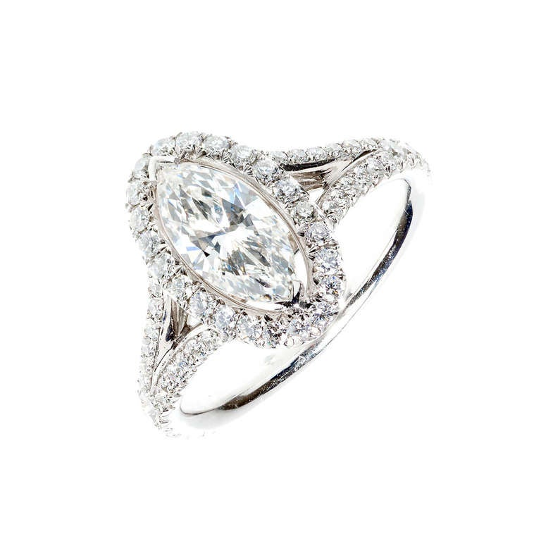 Peter Suchy .99 Carat Marquise Diamond Halo Platinum Engagement Ring For Sale