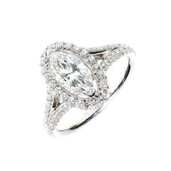 Peter Suchy .99 Carat Marquise Diamond Halo Platinum Engagement Ring