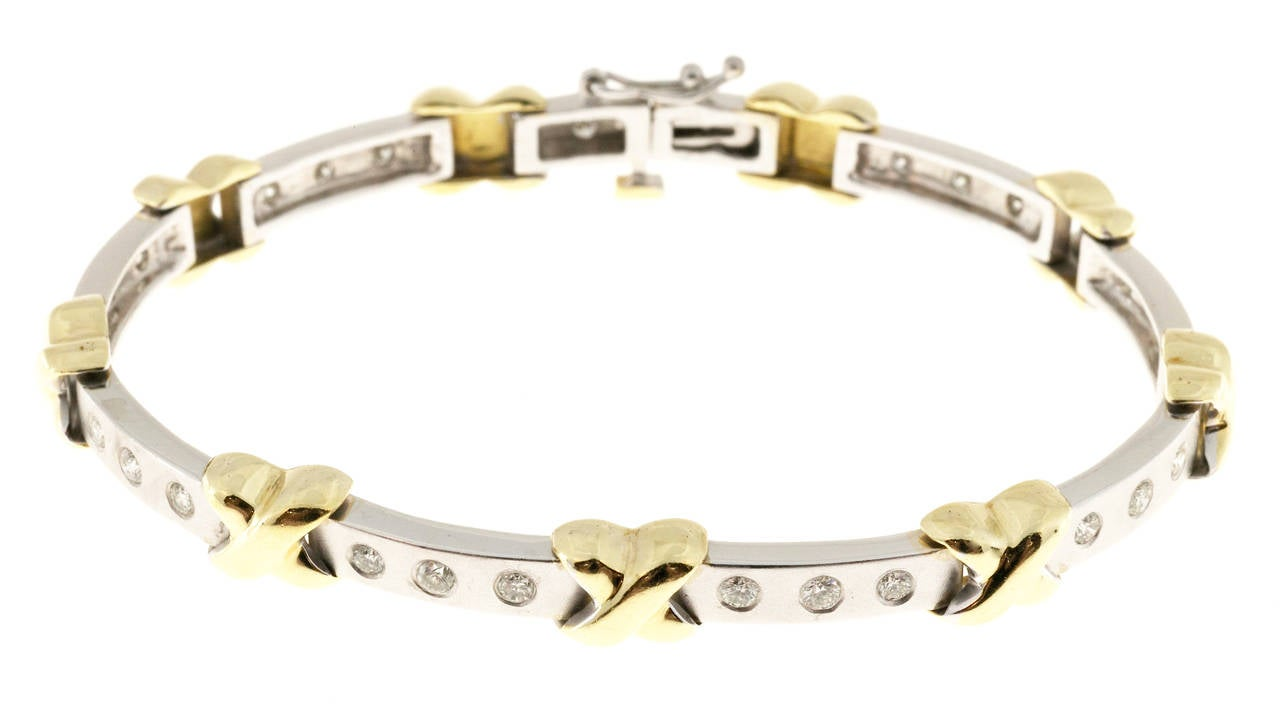 Diamond Two Color Gold ''X'' Bracelet In Good Condition For Sale In Stamford, CT