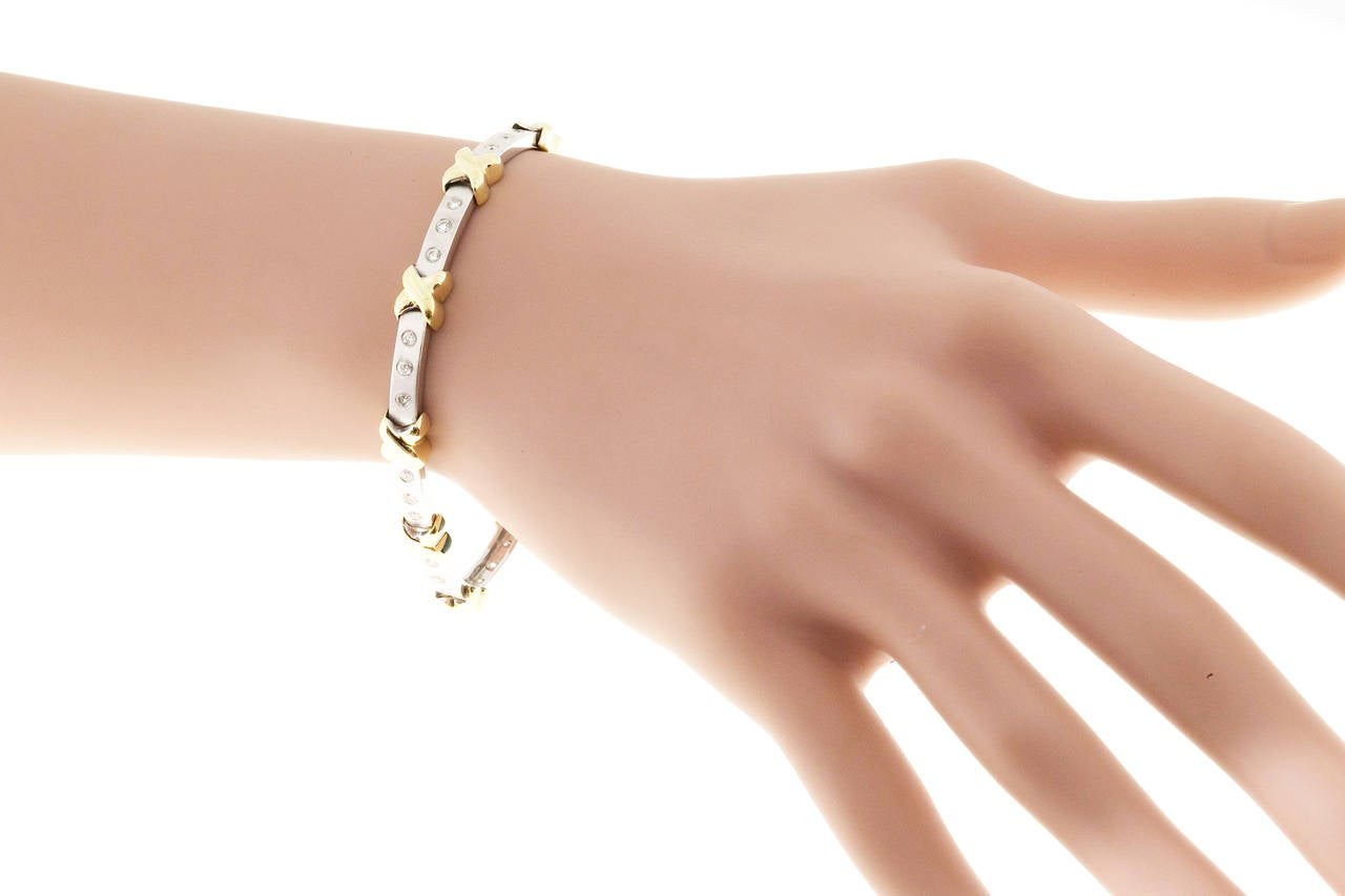 Diamond Two Color Gold ''X'' Bracelet For Sale 1