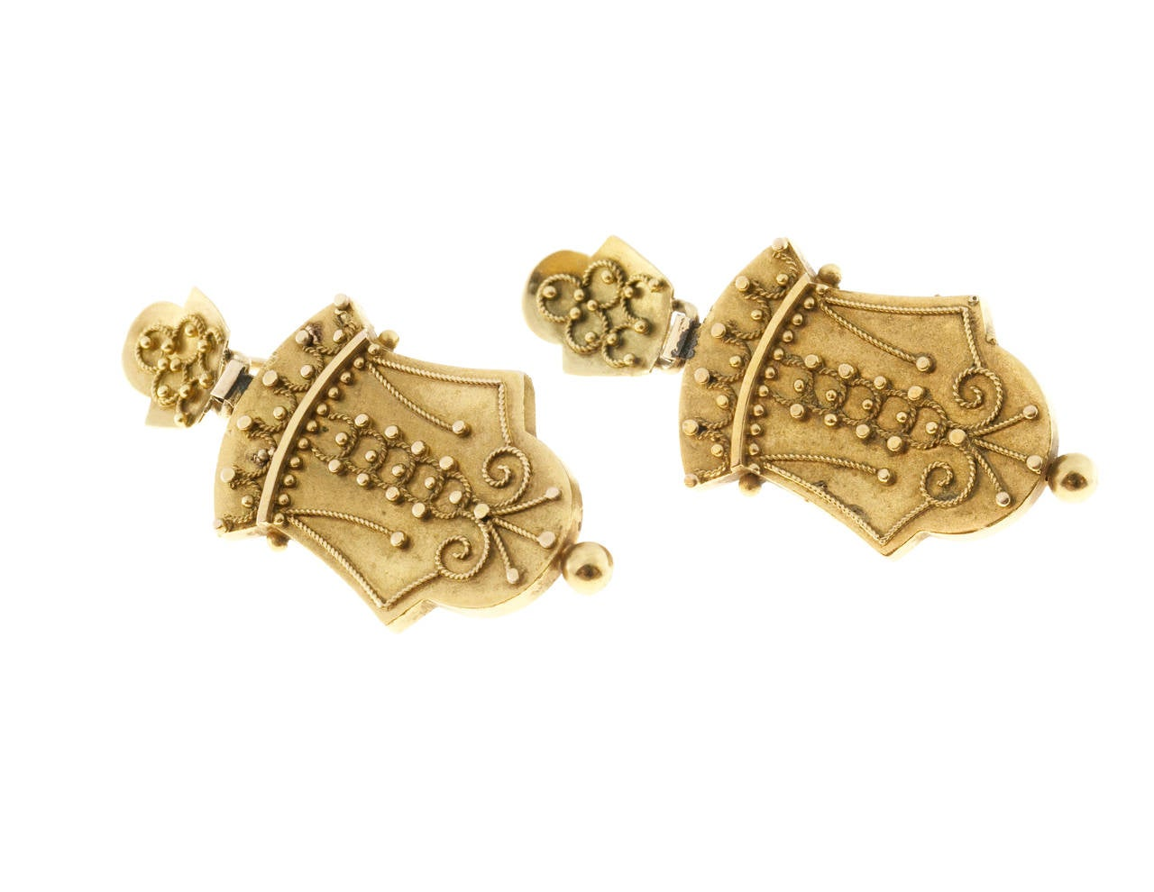 1860s Victorian Gold Dangle Earrings 4