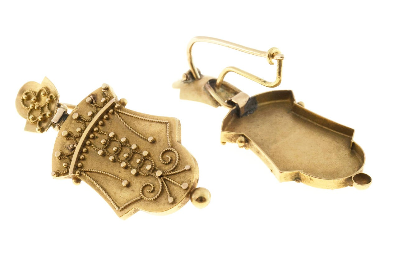 1860s Victorian Gold Dangle Earrings 3