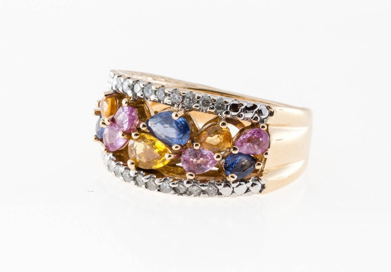 Multi Color Sapphire Diamond Gold Ring For Sale At 1stdibs