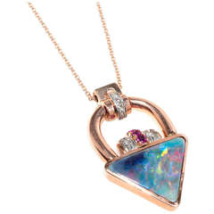 Retro Art Deco Natural 10.33 Carat Opal Ruby Diamond Pendant