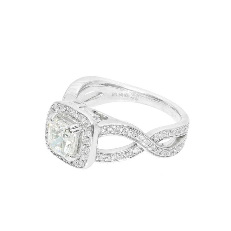 cushion halo platinum infinity ring at 1stdibs