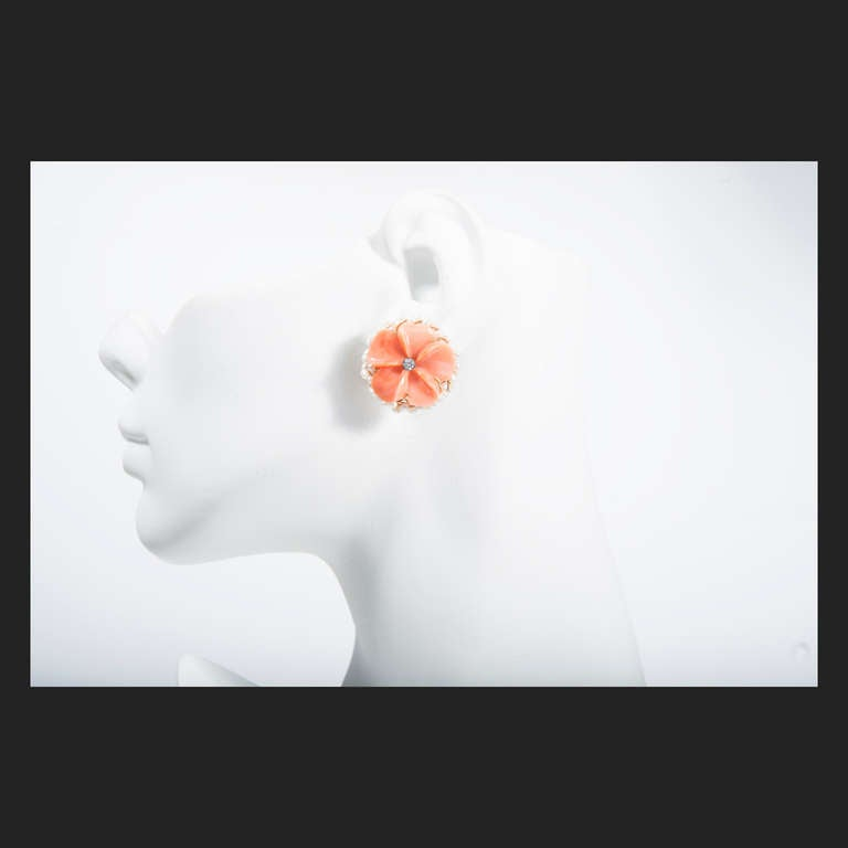 Carved Coral Diamond Pearl Gold Flower Earrings 3