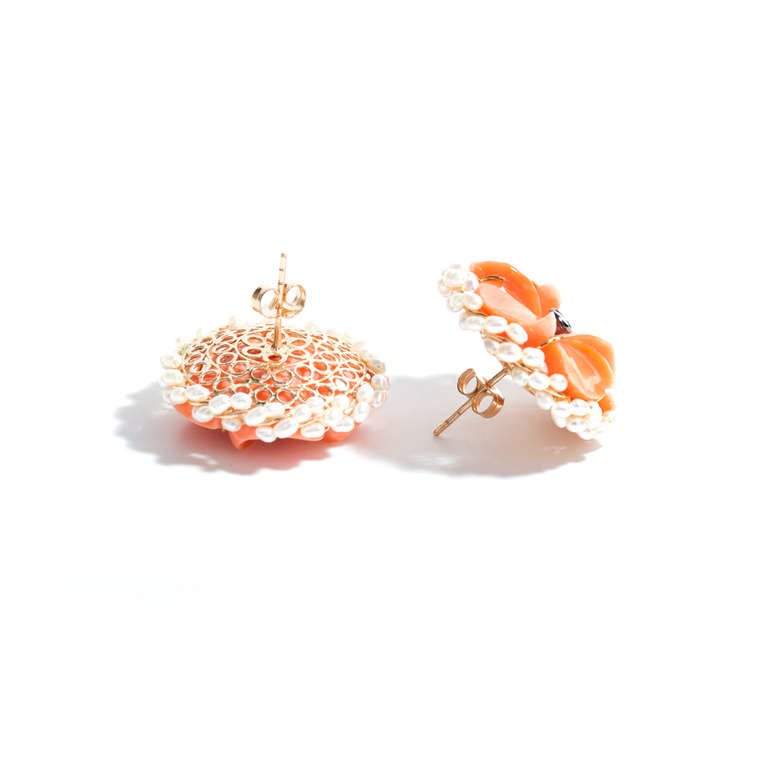 Carved Coral Diamond Pearl Gold Flower Earrings 4