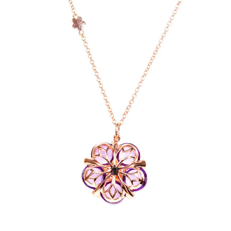 Cabochon Amethyst Garnet Diamond Rose Gold Pendant Necklace 4