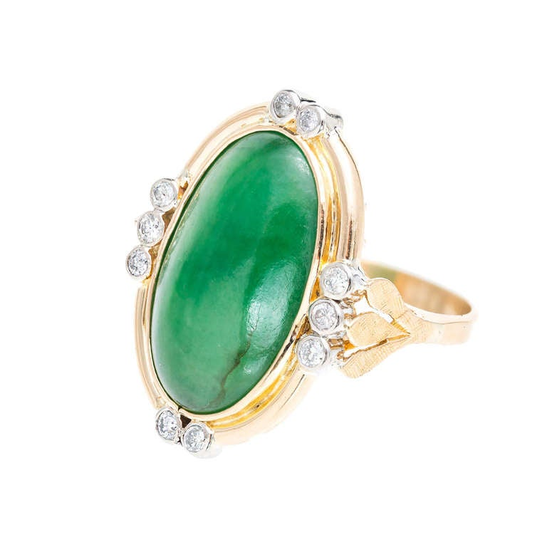 Natural Oval Green Jadeite Jade Diamond Gold Ring