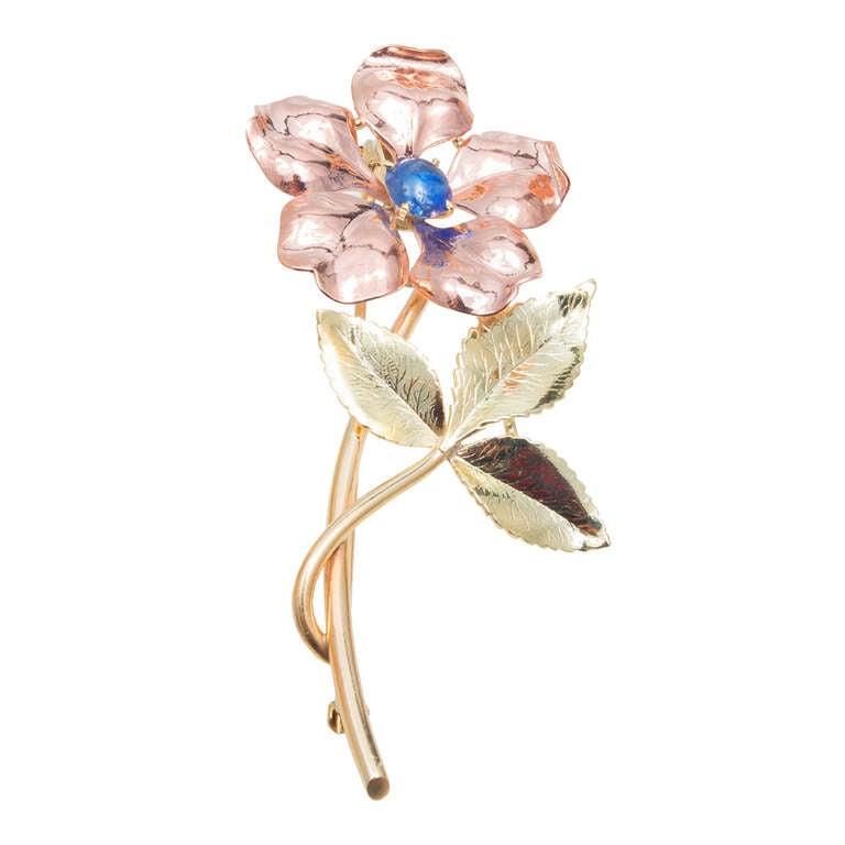 Krementz Sapphire Gold Flower Pin