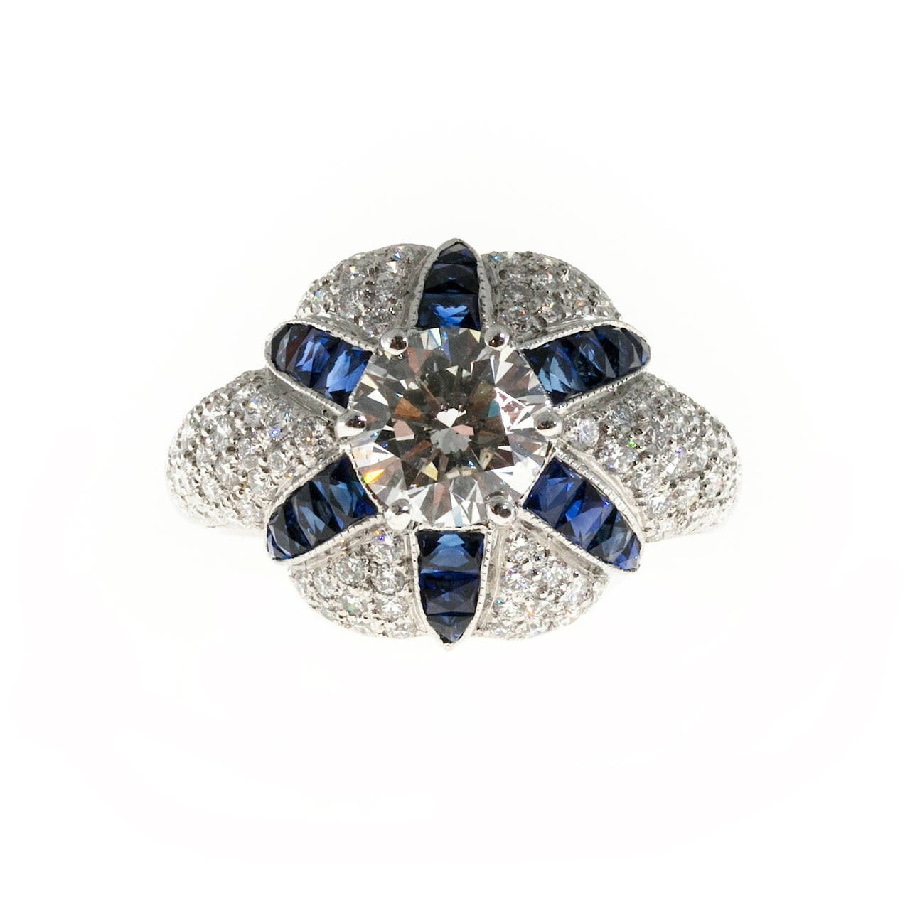 Women's Calibre Sapphire Diamond Platinum Domed Ring For Sale
