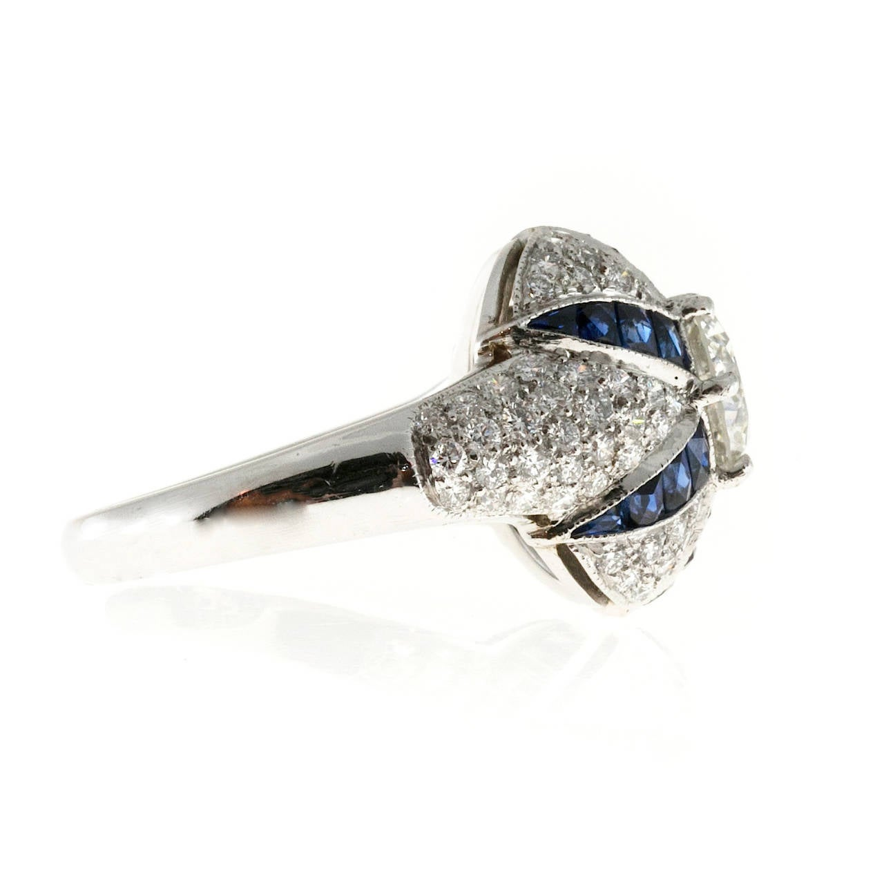 Calibre Sapphire Diamond Platinum Domed Ring In Good Condition For Sale In Stamford, CT