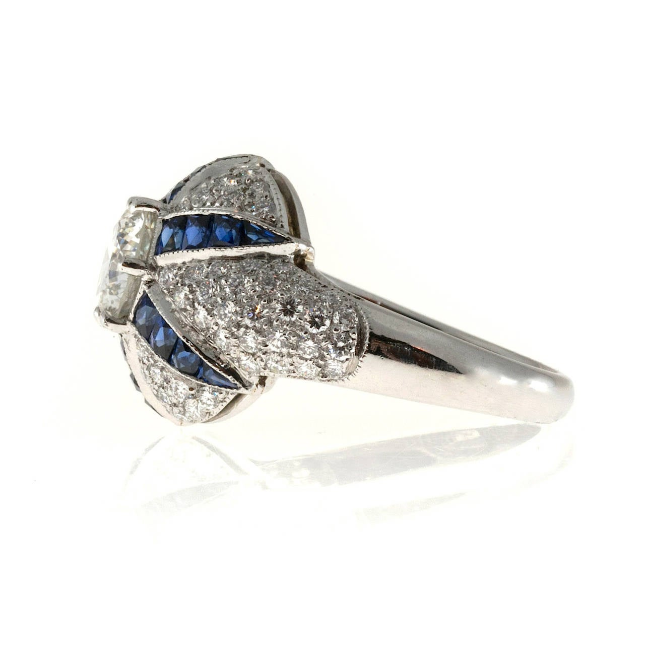 Calibre Sapphire Diamond Platinum Domed Ring For Sale 1