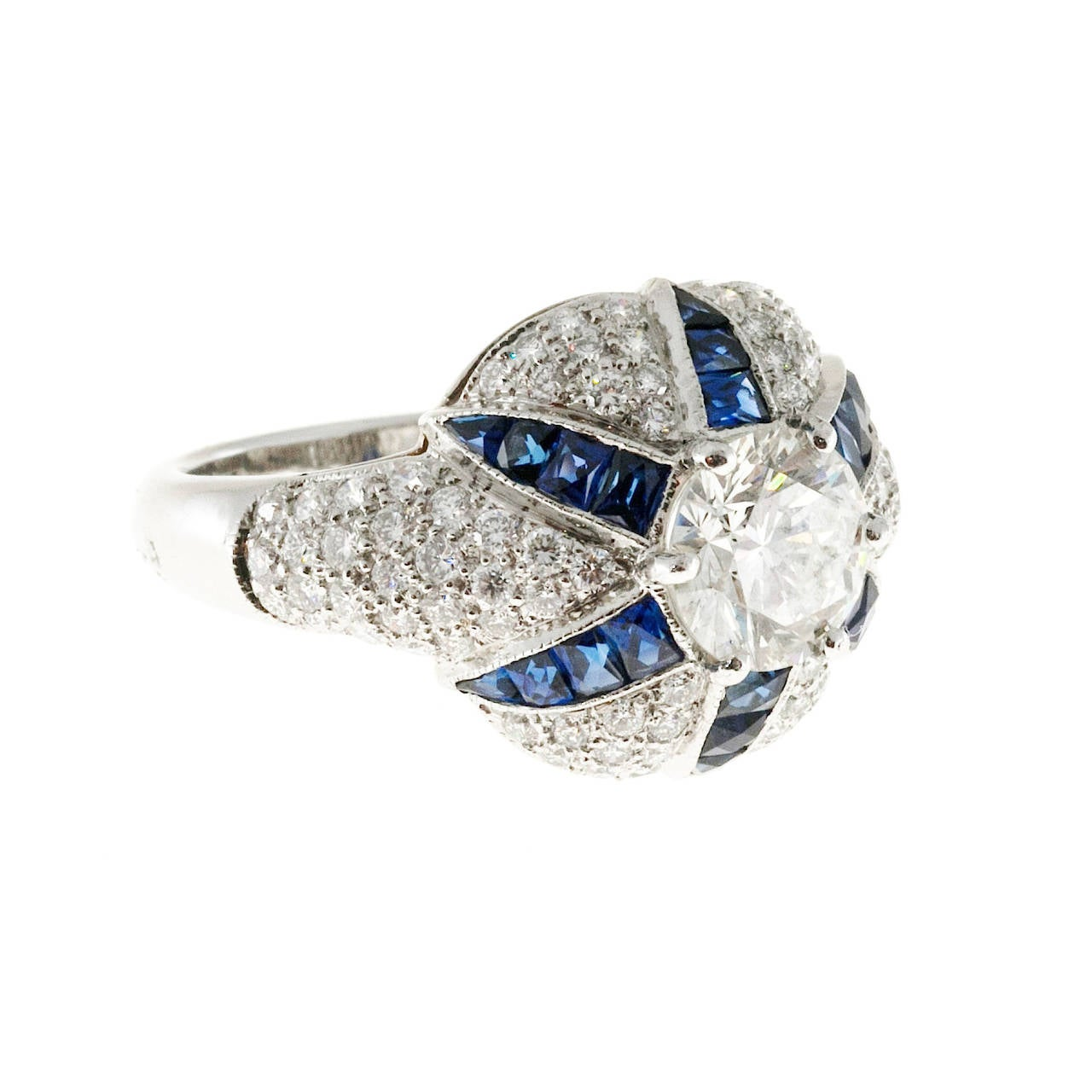 French Cut Calibre Sapphire Diamond Platinum Domed Ring For Sale