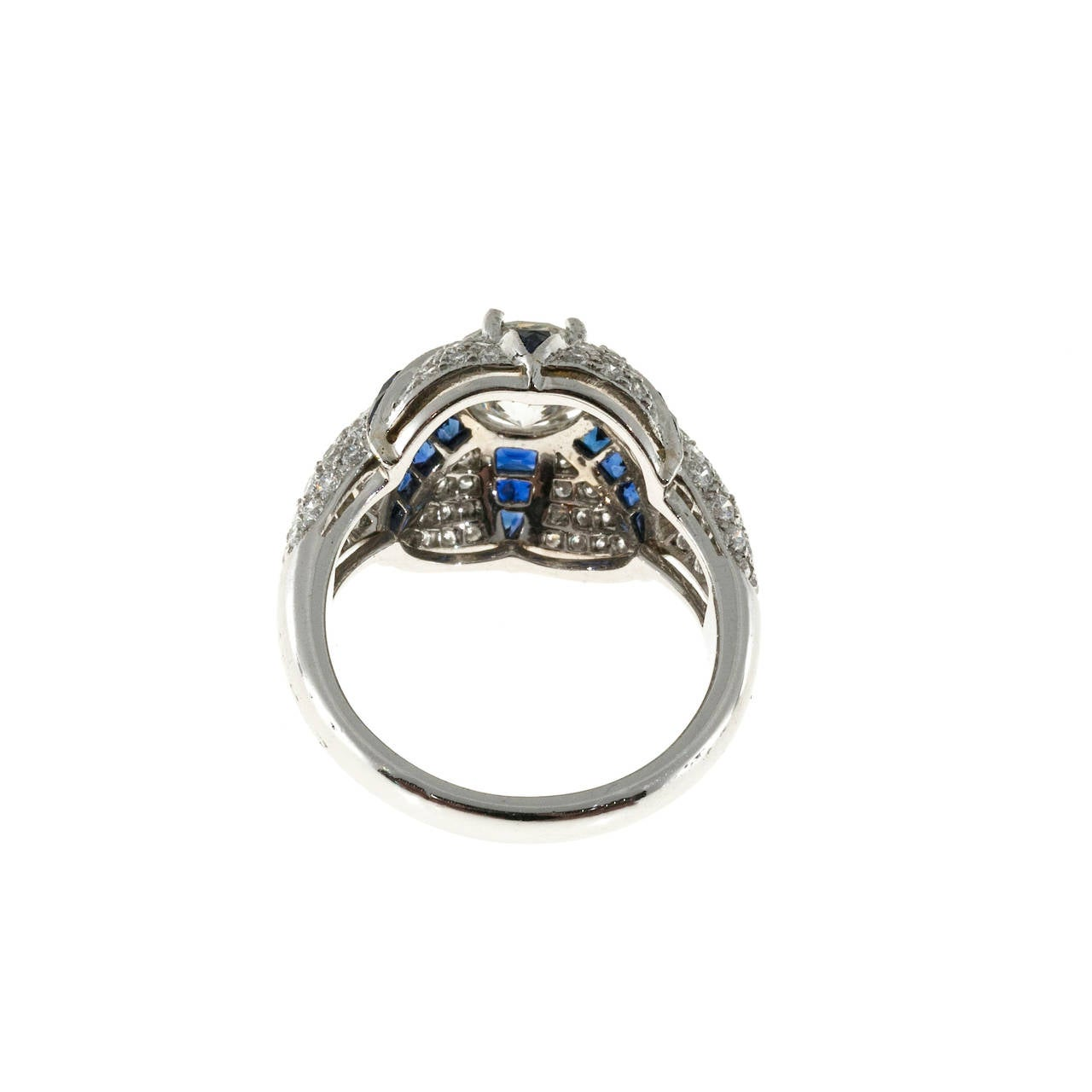 Calibre Sapphire Diamond Platinum Domed Ring For Sale 2