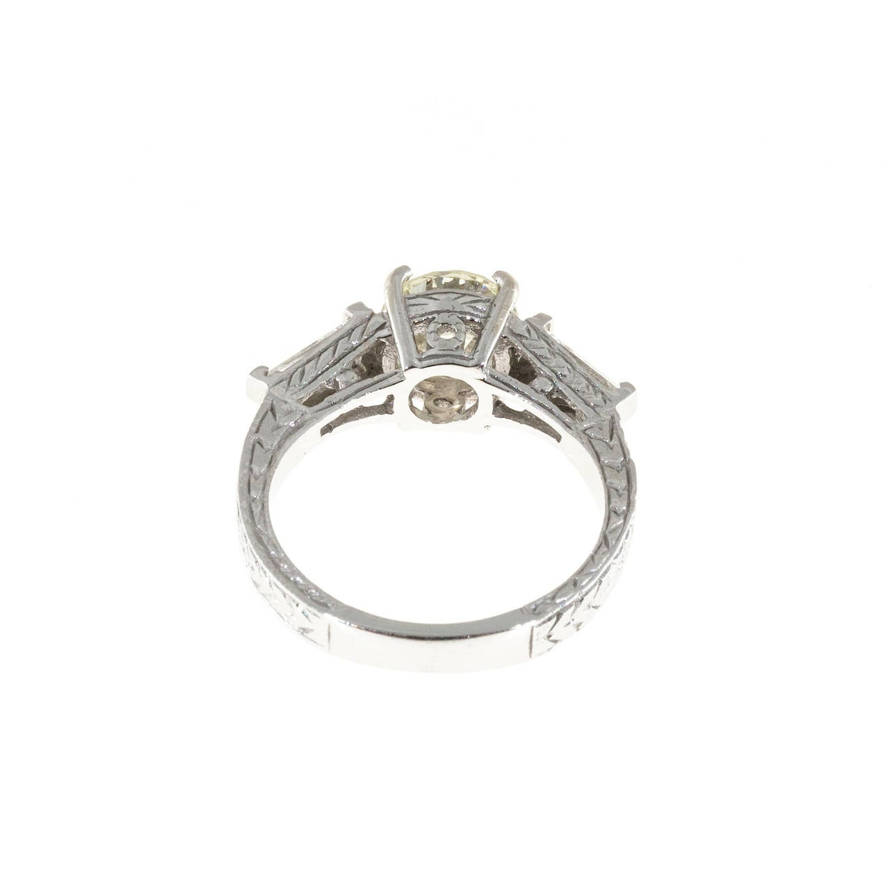 Diamond Gold Three Stone Engagement Ring For Sale 2