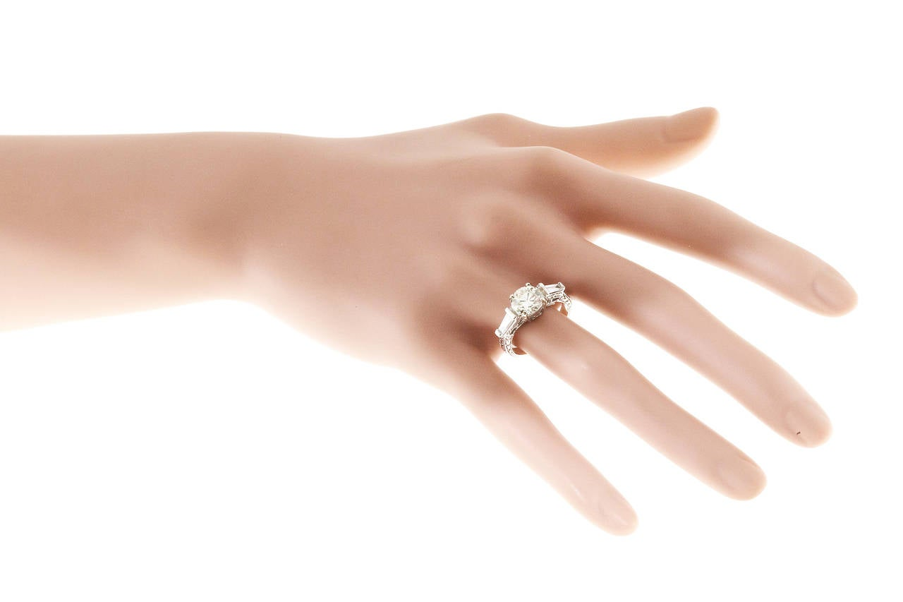 Diamond Gold Three Stone Engagement Ring For Sale 3