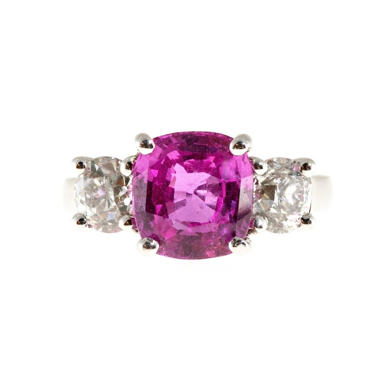 Peter Suchy Pink Sapphire Diamond Platinum Three Stone