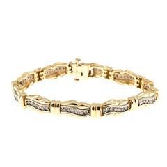 Diamond Gold Hinged Swirl Link Bracelet