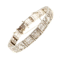 1935 Diamond Gold Platinum Filigree Hinged Link Bracelet