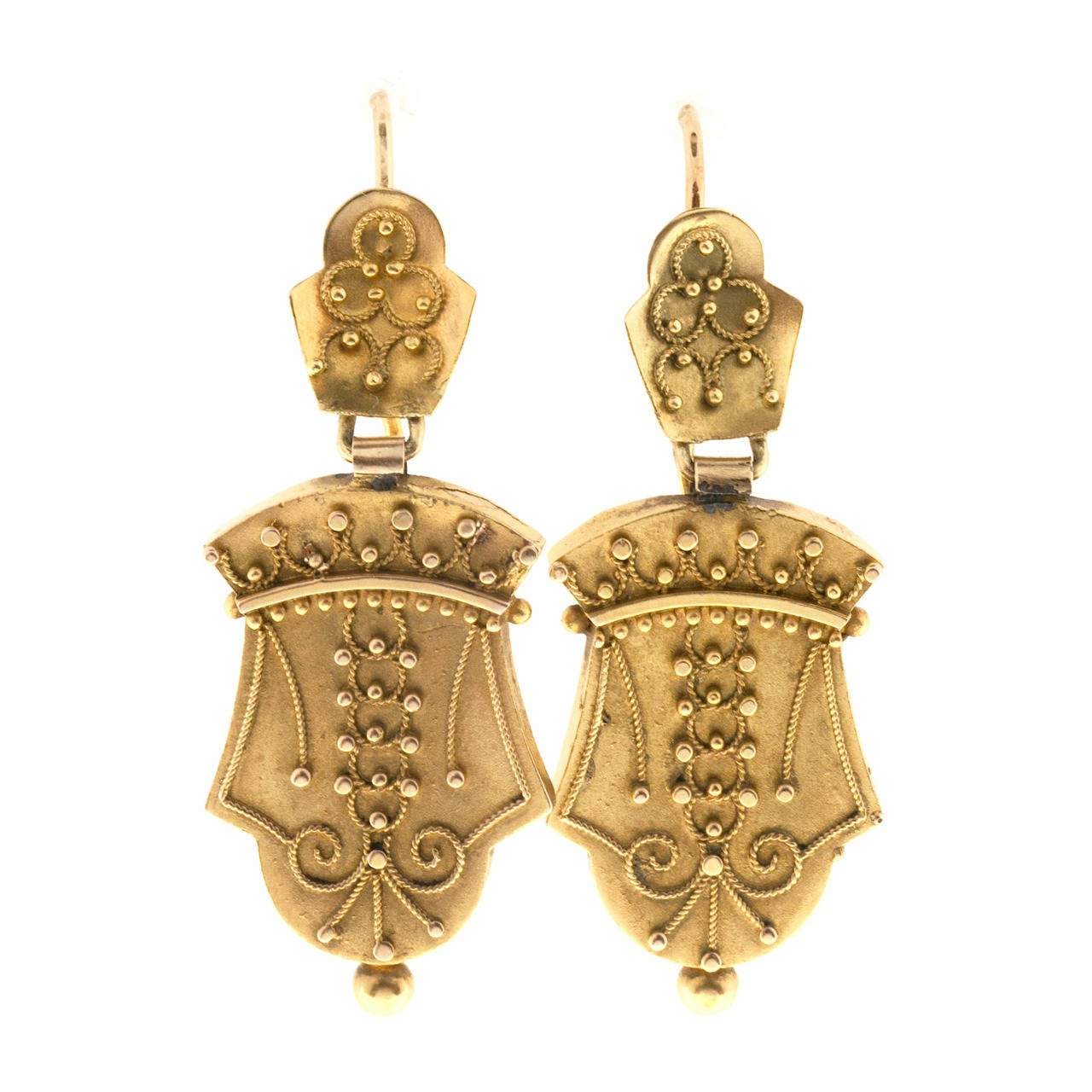 1860s Victorian Gold Dangle Earrings 1
