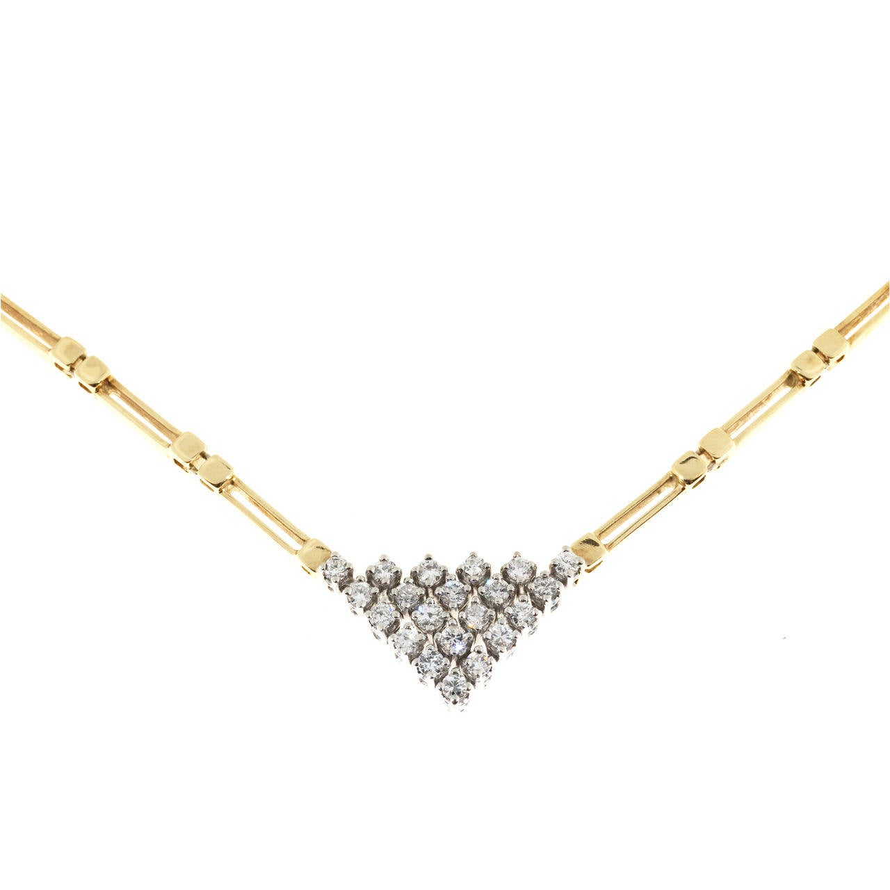 Diamond Triangular Two Color Gold Necklace