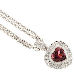 Pink Tourmaline Pave Diamond Gold Heart Pendant