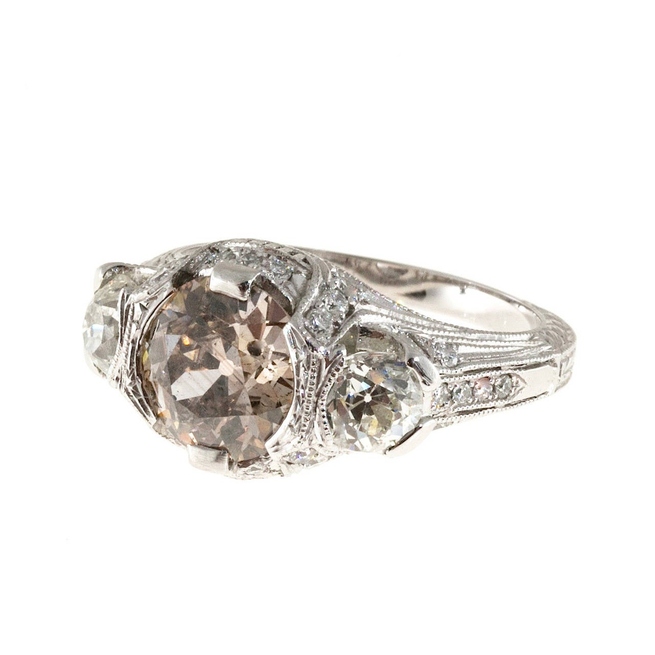 Art Deco Brown Diamond Platinum Engagement Ring