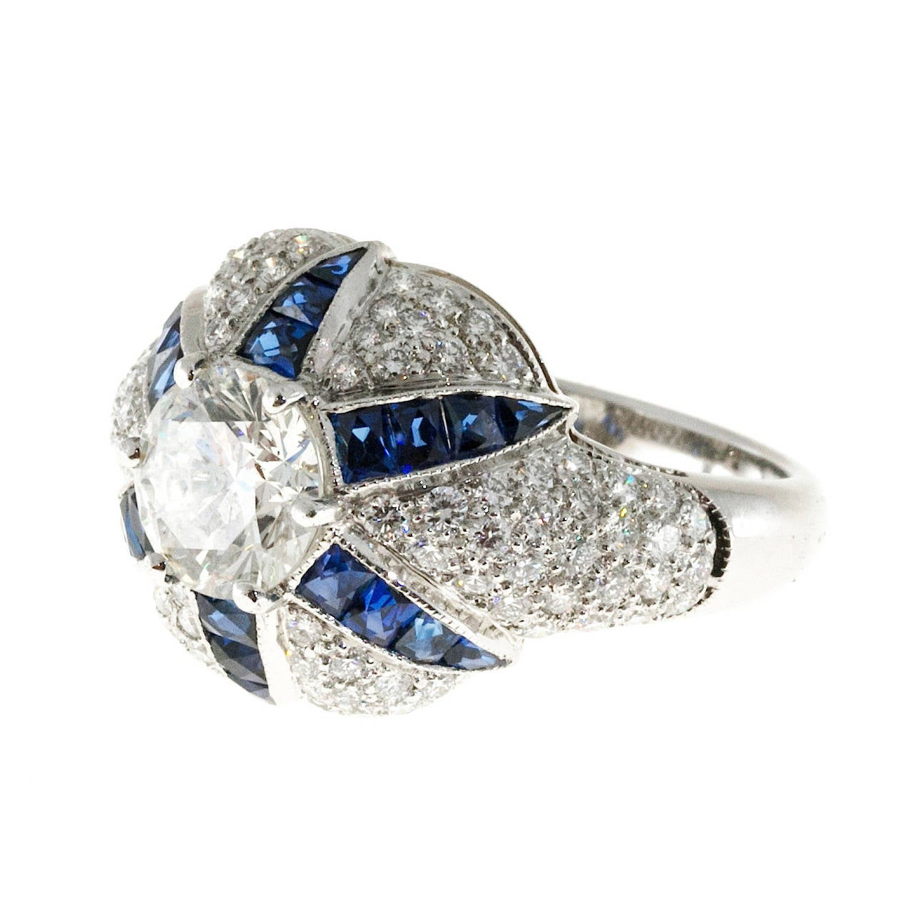 Calibre Sapphire Diamond Platinum Domed Ring