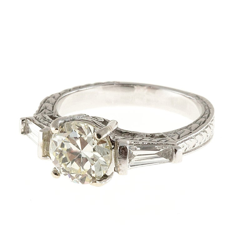 Diamond Gold Three Stone Engagement Ring For Sale