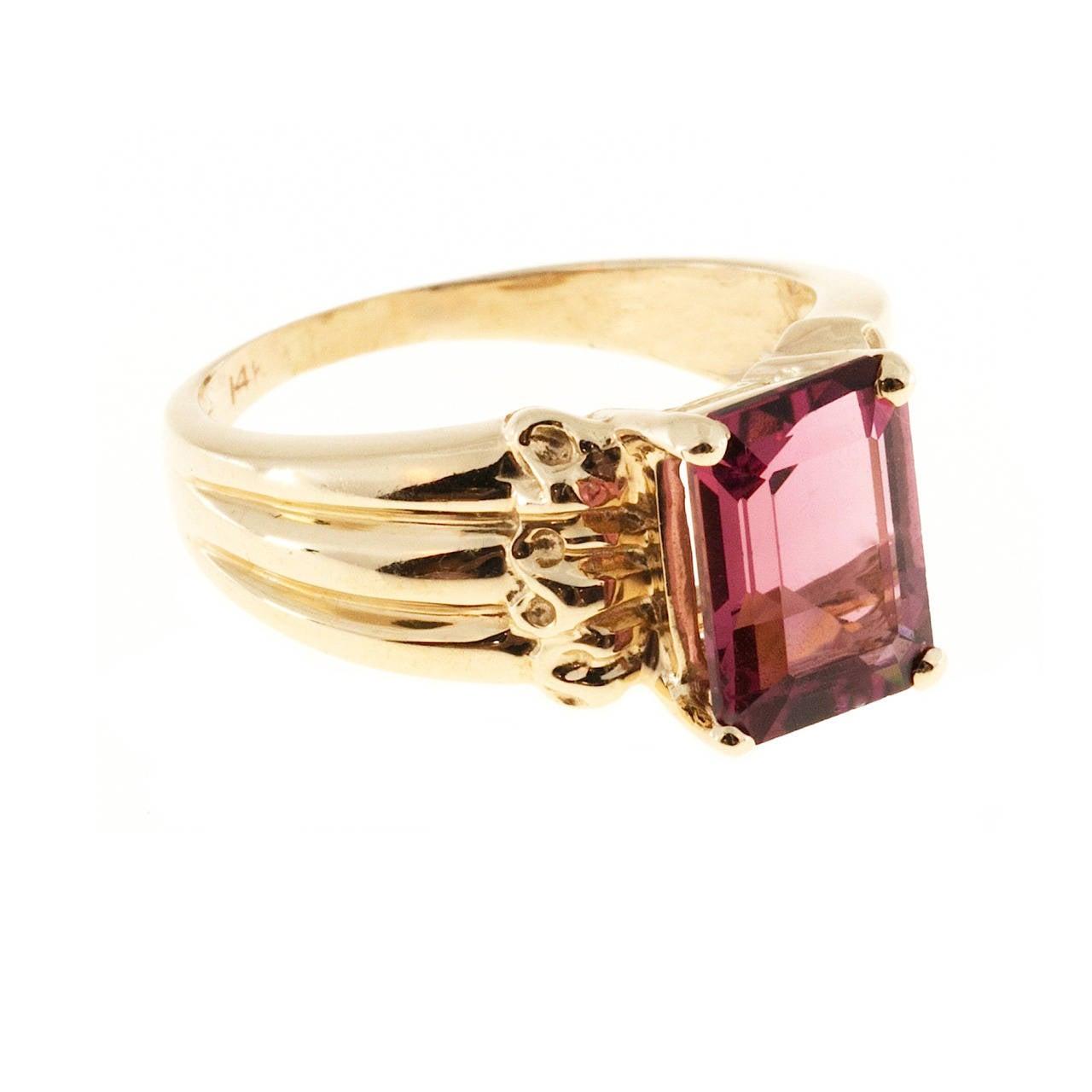 Pink Tourmaline Gold Cocktail Ring