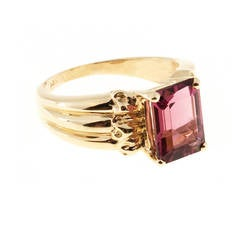 Pink Tourmaline Gold Cocktail Ring