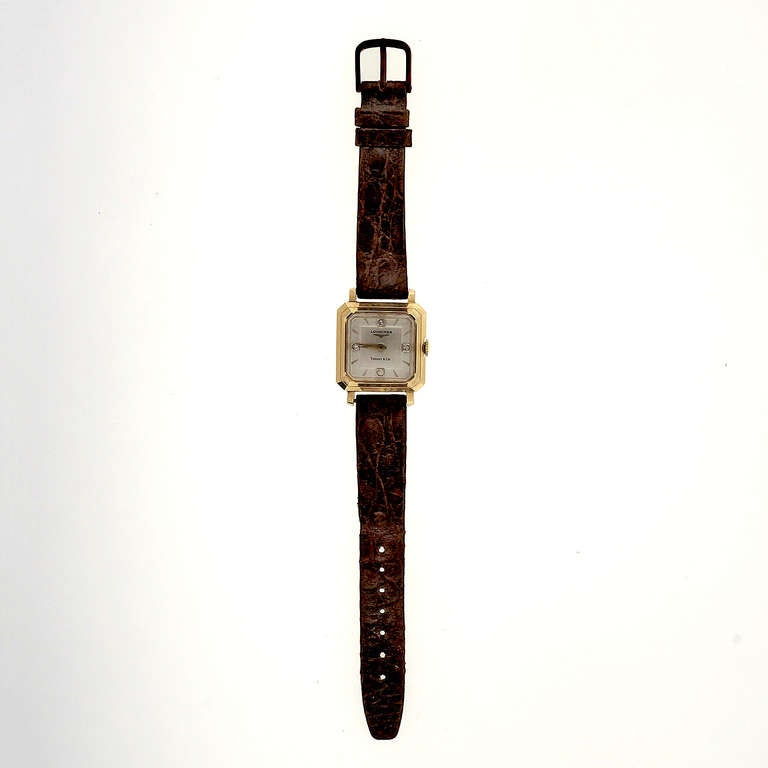 Longines Yellow Gold Wristwatch with Diamond Dial Retailed by Tiffany & Co. In Good Condition For Sale In Stamford, CT