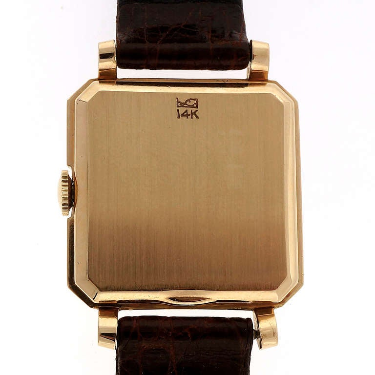 Women's or Men's Longines Yellow Gold Wristwatch with Diamond Dial Retailed by Tiffany & Co. For Sale